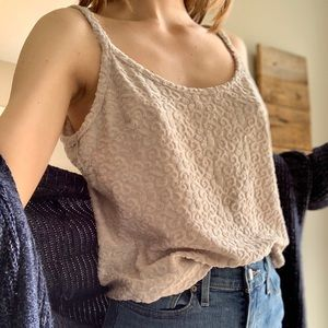 Vintage Express Tricot boxy floral taupe tank